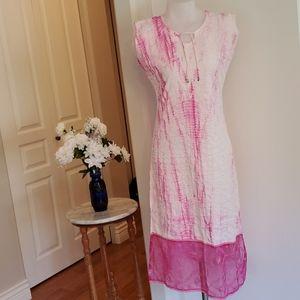 Beautiful Small Cotton Pink Tiedye Dress Midi
